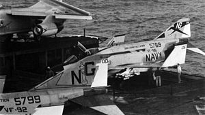F-4J VF-96 on elevator of USS Constellation (CVA-64) c1972.jpg