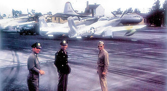 524th Special Operations Squadron - 27th Fighter Wing North American F-82E Twin Mustangs and a Boeing B-29 Superfortress at Kearney AFB.