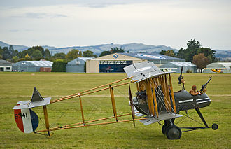 Conventional landing gear - A replica World War 1 F.E.2 fighter. This aircraft uses a tailskid. The small wheel at the front is a safety device intended to prevent nose-over accidents