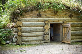Forest History Center - Sod-roofed cabin at the Forest History Center