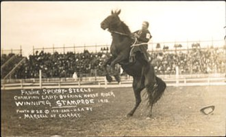 Rodeo - Fannie Sperry Steele, Champion Lady Bucking Horse Rider, Winnipeg Stampede, 1913