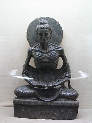 "Pre-sectarian Buddhism - Siddartha Gautama depicted in Greco-Buddhist style during his extreme fasting prior to be ""Awakened"", 2nd-3rd century, Gandhara (modern eastern Afghanistan), Lahore Museum, Pakistan"