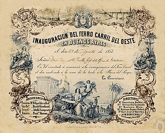 Buenos Aires Western Railway - Invitation card to the opening of the line, 1857.