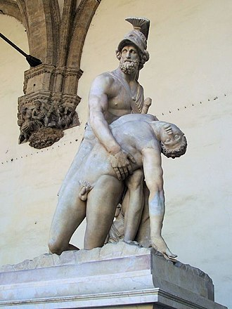 Loggia dei Lanzi - Menelaus supporting the body of Patroclus, a much-restored Roman sculpture