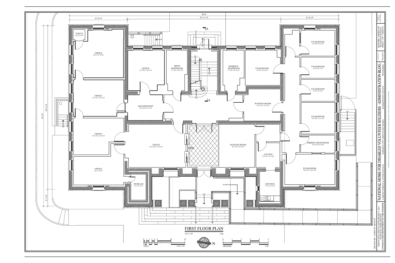 File:First Floor Plan National Home for Disabled Volunteer Soldiers, Mountain Branch - Small Home Building Plans House Building Plans, Building Design Plancoloredcarbon.com