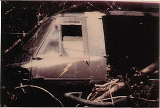 Battle of Signal Hill Vietnam - April 19, 1968, crashed UH-1 on Signal Hill