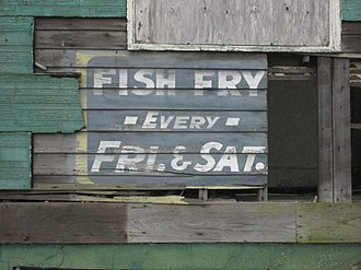 Saturday Night Fish Fry - Old fish fry sign, New Orleans