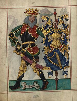 Nine Worthies - David, in Livro do Armeiro-Mor (fl 1v), a Portuguese armorial from 1509. The book opens with ten full-page illustrations of the Nine Worthies and Bertrand du Guesclin.