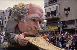 Adloyada - David Ben-Gurion float at the Adloyada parade, 1998