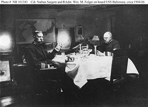 William M. Folger - Image: Folger and Sergeant aboard USS Baltimore