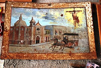 Votive paintings of Mexico - Votive painting in frame at the Sanctuary of Chalma