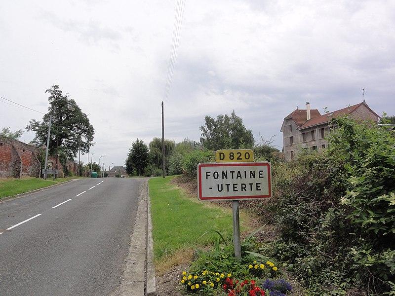 Fontaine-Uterte (Aisne) city limit sign