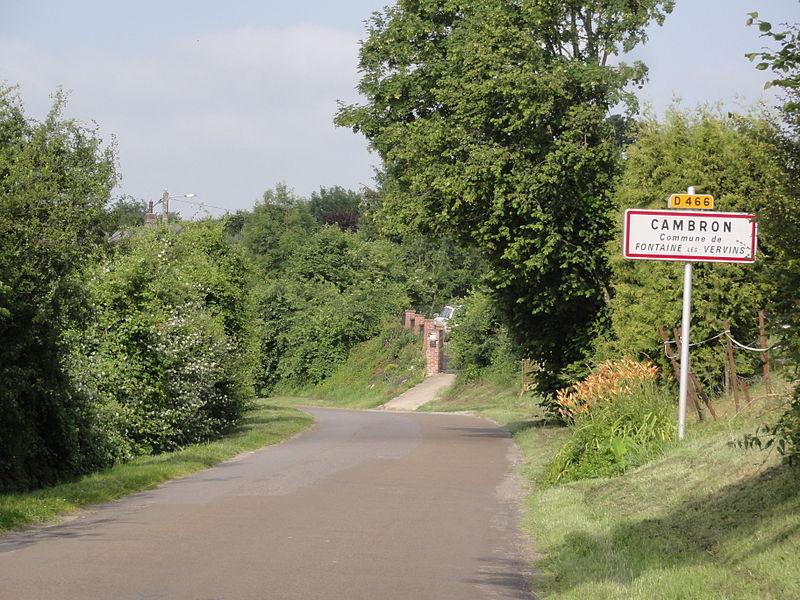 Fontaine-lès-Vervins (Aisne) city limit sign Cambron