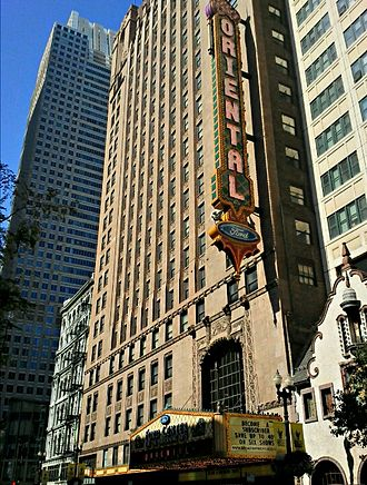 Oriental Theatre (Chicago) - Looking northwest with sunlight casting a shadow on the marquee in mid-afternoon