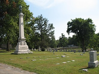 Battle of Westport - Memorial to Confederate dead on the high ground at Forest Hill Cemetery, Kansas City. Joseph O. Shelby was buried by the memorial; Waldo P. Johnson is buried behind it.