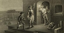 "A black and white engraving, captioned ""Capture of Fort Ticonderoga"". Two men, one holding a lit lantern and the other with his left hand raised and a sword in his right hand, stand in the center, facing the doorway of a stone building to the right. A man stands in the doorway, wearing a nightgown and nightcap, and holding a lit candle on a candlestick. Behind him a woman is visible. To the right of the doorway is a small cannon or mortar; in the background on the left men in uniform are visible, as are stacked cannonballs, cannons, and a ladder leaning against a wall."