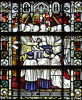 Truro Cathedral - A stained glass window depicting the founding of the cathedral
