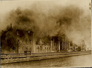Irish Civil War - The Four Courts along the River Liffey quayside. The building was occupied by anti-treaty forces during the Civil War, whom the National Army subsequently bombarded into surrender. The Irish national archives in the buildings were destroyed in the subsequent fire. The building was badly damaged but was fully restored after the war.