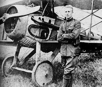 Frank Luke - Lt. Frank Luke, Jr. with his SPAD S.XIII on September 19, 1918.