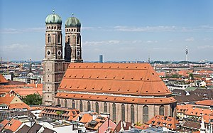 Munich Frauenkirche - Image: Frauenkirche Munich View from Peterskirche Tower 2