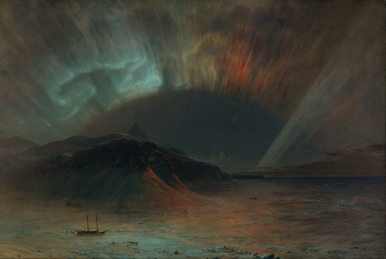 Aurora Borealis, Frederic Edwin Church, 1865, Smithsonian American Art Museum.  (définition réelle 4001×2692)