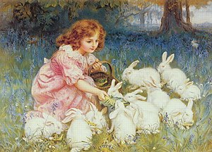Works based on Alice in Wonderland - Feeding the Rabbits also known as Alice in Wonderland by Frederick Morgan (1856-1927)
