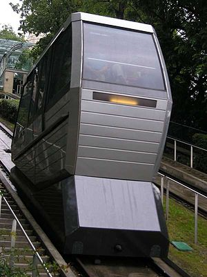 Montmartre Funicular - One of the cabins taken from the level of its wheels