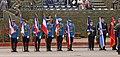Gardisti pred početak sa zastavama odlikovanih brigada pred početak parade - Odbrana slobode 2019 Niš 1.jpg