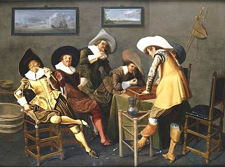 Gentlemen Smoking and Playing Backgammon in an Interior by Dirck Hals, 1627. Gentlemen Smoking and Playing Backgammon in an Interior.jpg