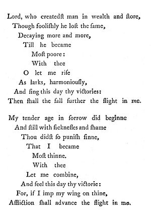 1633 in poetry - Image: George Herbert Upright Version Easter Wings 1633