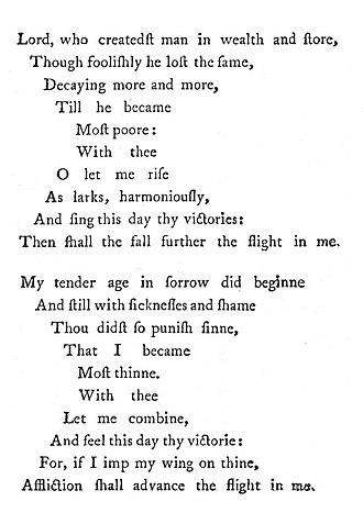 1633 in poetry - Image: George Herbert Upright Version Easter Wings 1633