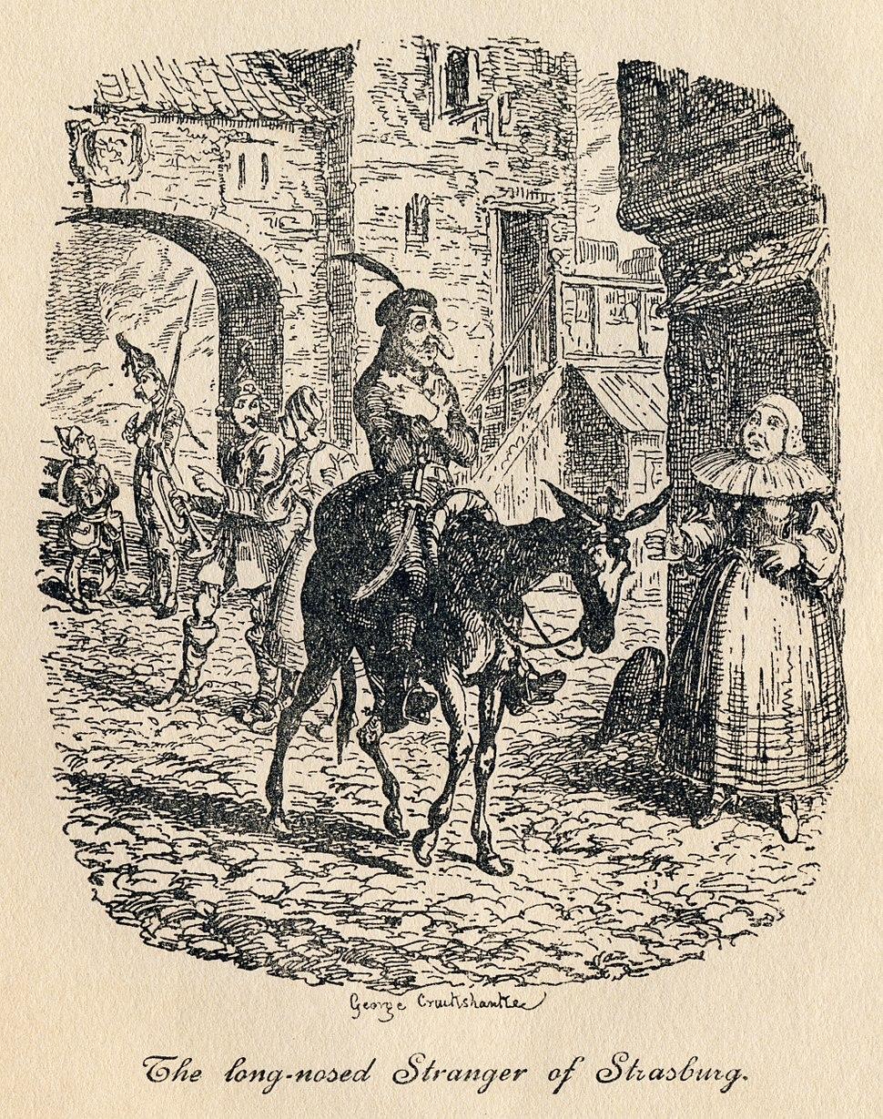 George Cruikshank - Tristram Shandy, Plate IV. The long-nosed Stranger of Strasburg