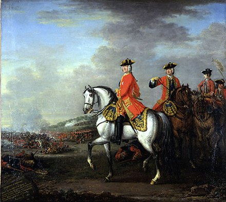 George II leading his forces to victory at the Battle of Dettingen (1743). Pitt incurred his lasting displeasure by attacking British support for Hanover, which would blight their relations for twenty years. George II at Dettingen.jpg