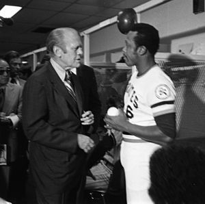 Al Oliver - Oliver speaks with then-President Gerald Ford prior to the 1976 All-Star Game