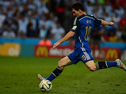 Messi preparing to shoot with his dominant left foot during the final of the 2014 FIFA World Cup. Germany and Argentina face off in the final of the World Cup 2014 04 crop.jpg