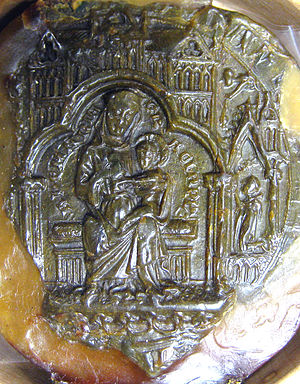 Gisborough Priory - Chapter seal of Gisborough Priory, 1538. The seal depicts the Virgin Mary with the infant Christ, sitting under a canopy in the shape of a church.