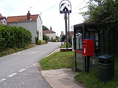Glemham Road,Sweffling Village Sign Telephone Box and Main St. Postbox - geograph.org.uk - 1429422.jpg