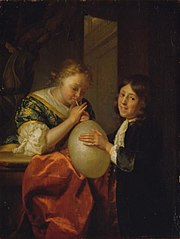 Boy and a Girl blowing a Pig's Bladder