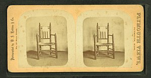"Turned chair - The original ""Carver's Chair"" in an old stereoscopic image."