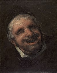 Goya's Tío Paquete (1820) displays an adult male smiling.
