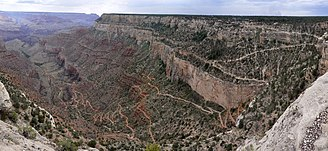 Bright Angel Trail - Majority of the upper part of Bright Angel trail visible from the canyon rim.
