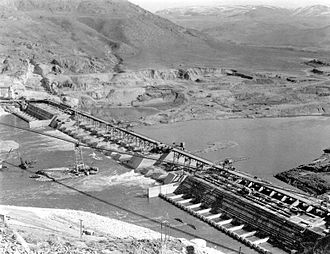 Grand Coulee Dam - Base of the dam in 1938