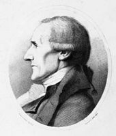 Portrait of Granville Sharp. The head and shoulders of Sharp are seen from the side, in an oval frame