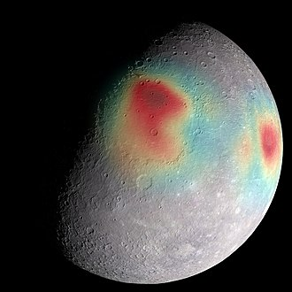 Mercury (planet) - Gravity anomalies on Mercury—mass concentrations (red) suggest subsurface structure and evolution