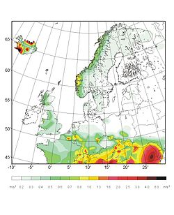 Carte de l'aléa sismique pour l'Europe du Nord. L'échelle des couleurs indique l'accélération du sol ayant 10% de chance d'être dépassée en 50 ans. Source GSHAP