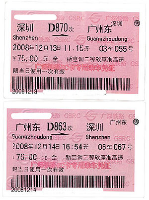 Guangzhou–Shenzhen Railway - Tickets of Intercity Trains