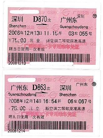 Guangzhou–Shenzhen railway - Tickets of intercity trains