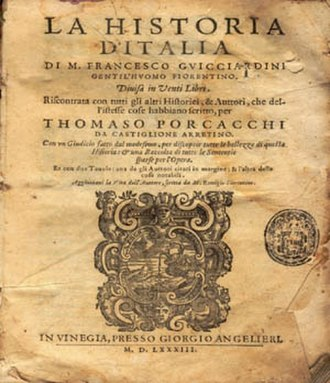 History - The title page to La Historia d'Italia