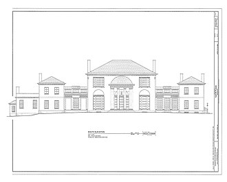 Tudor Place - Image: HABS Tudor Place South Elevation Measured Drawing 1999