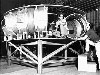Princeton Large Torus - Vacuum vessel of the PLT under construction